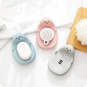 Мультяшный дренаж для мыла, ящик для ванной комнаты, кухонный Органайзер, держатель для мыла, пластиковая противоскользящая губка для хране...