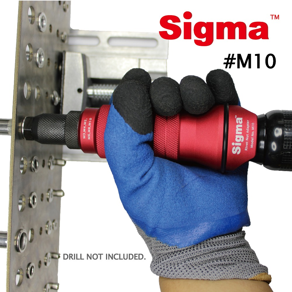 Image 3 - Sigma #M10 HEAVY DUTY Threaded Rivet Nut Drill Adapter Cordless or Electric power tool accessory alternative air rivet nut gunRiveter Guns   -