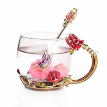 Red Rose  Enamel Color Crystal Glass Tea Cup High-grade Butterfly Flower Coffee Mugs perfect Lovers Gift Souvenir F2