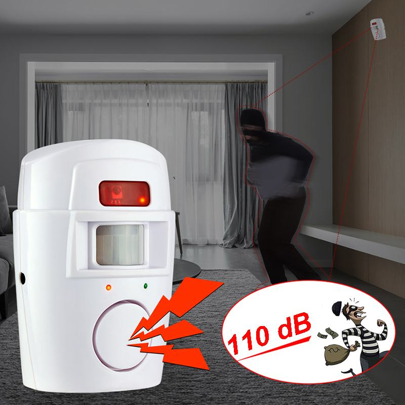 110db sistema de alarme sem fio do assaltante da segurança em casa detector de movimento anti-roubo elétrico do sensor infravermelho com 2 controle remoto