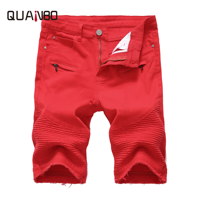 QUANBO New 2019 Summer Denim   Shorts   Men Fashion High Street Elastic Casual Jeans White Red Big size Male Cotton Brand Clothing