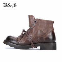 Black&Street Goodyear Handmade Outdoor Martin Boots frist yard italy cow Leather Thick Sole Tooling Retro Military desert Boots
