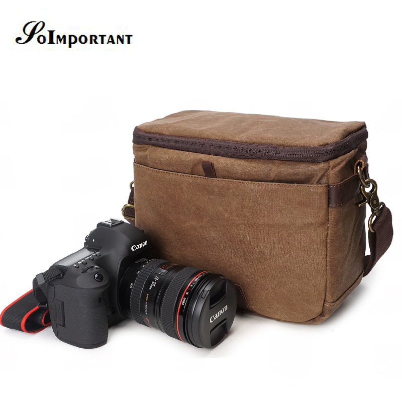 Vintage DSLR Camera Bag Genuine Leather Oil Wax Canvas Case Photo Bag Rain Cover Video Bag Rain Cover SLR Camera Bag D700 D600 case logic big slr camera bag