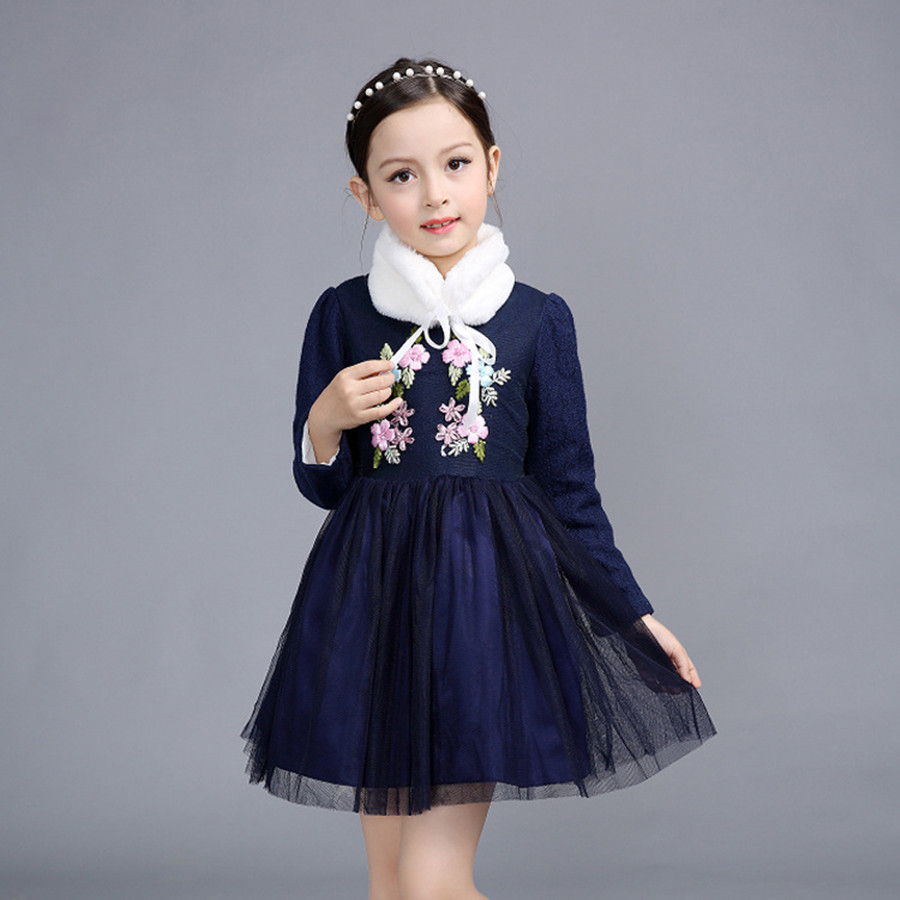 Evening Dresses Kids Formal Embroidery Flower Lace Prom Dess Children Velvet Pageant Dresses For Little Girls Winter Girls Dress