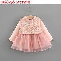 Baby Girls Long Sleeve Lace Leaf Patchwork Mesh Ball Gown Princess Party Tutu Dress Birthday Kids Vintage cheongsam vestidos