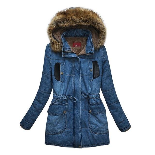 fafff61cc54 2016 Plus Size Women Denim Jacket Coat Fashion Autumn Winter Long Sleeve Women  Fur Coat Oversized