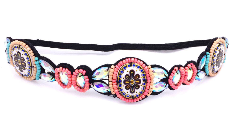 Metting Joura Vintage Bohemian Ethnic Tribal Flower Print Stone Handmade Elastic Headband Hair Band Design Hair Accessories vintage bohemian ethnic colored tube seed beads flower rhinestone handmade elastic headband hair band hair accessories