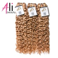 Ali Beauty #P27/613 Water Wave Bundles Human Hair Extensions Remy Hair Weft Ombre Color Blonde Hair 18 24 Weft Width 120 130cm