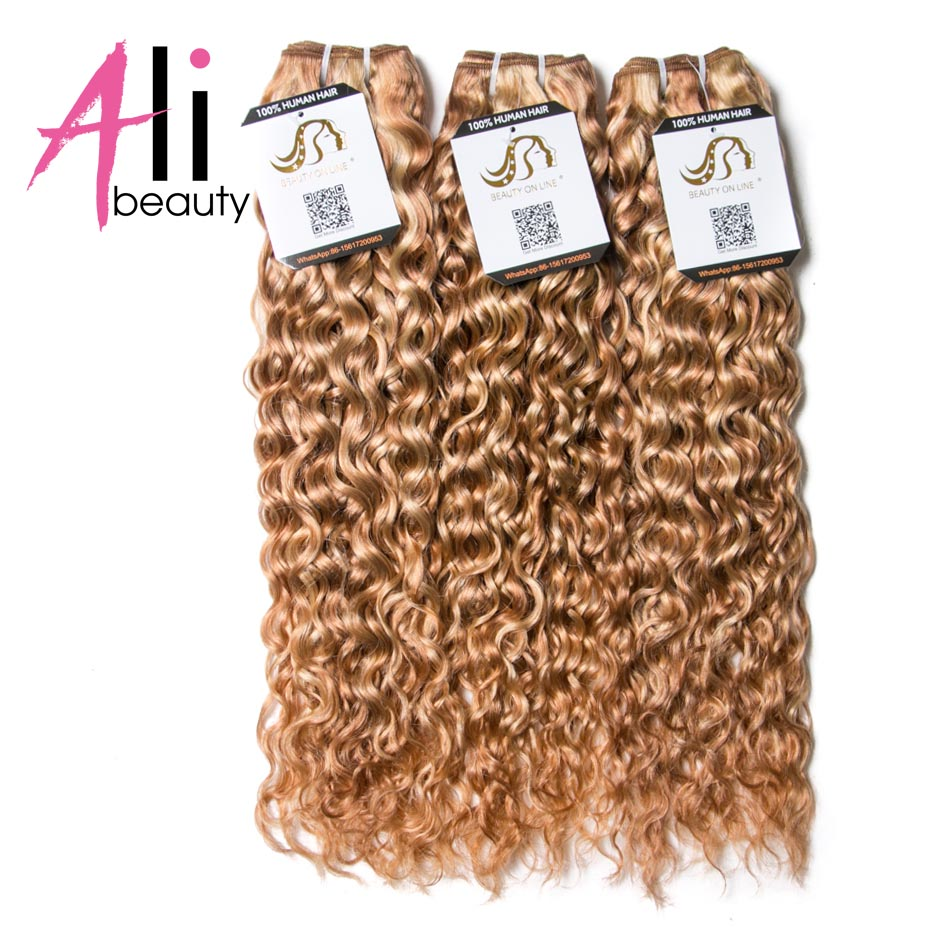 Ali-Beauty Piano #P27/613 Water Wave Bundles Human Hair Extensions Remy Hair Weft Ombre Color Blonde Hair 12