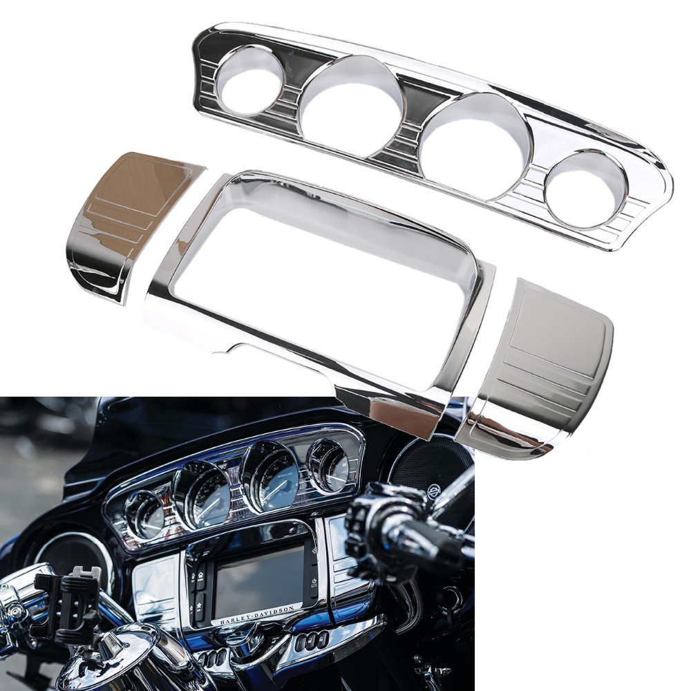 Chrome Tri Line Tri-Line Stereo Trim Cover for Harley Touring Electra Street Glide CVO Ultra FLHT FLHX Motorbike Part #MBT009 brand new mid frame air deflector trims for harley cvo limited road king electra glide street electra tri glide flhx 2009 2016