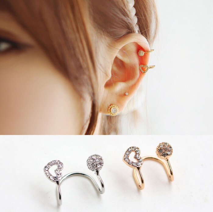 Dshine 2017 New Brincos Vintage No Piercing Women Crystal Rhinestone Heart Clip Earrings Gold Silver Ear Cuff In From Jewelry Accessories On