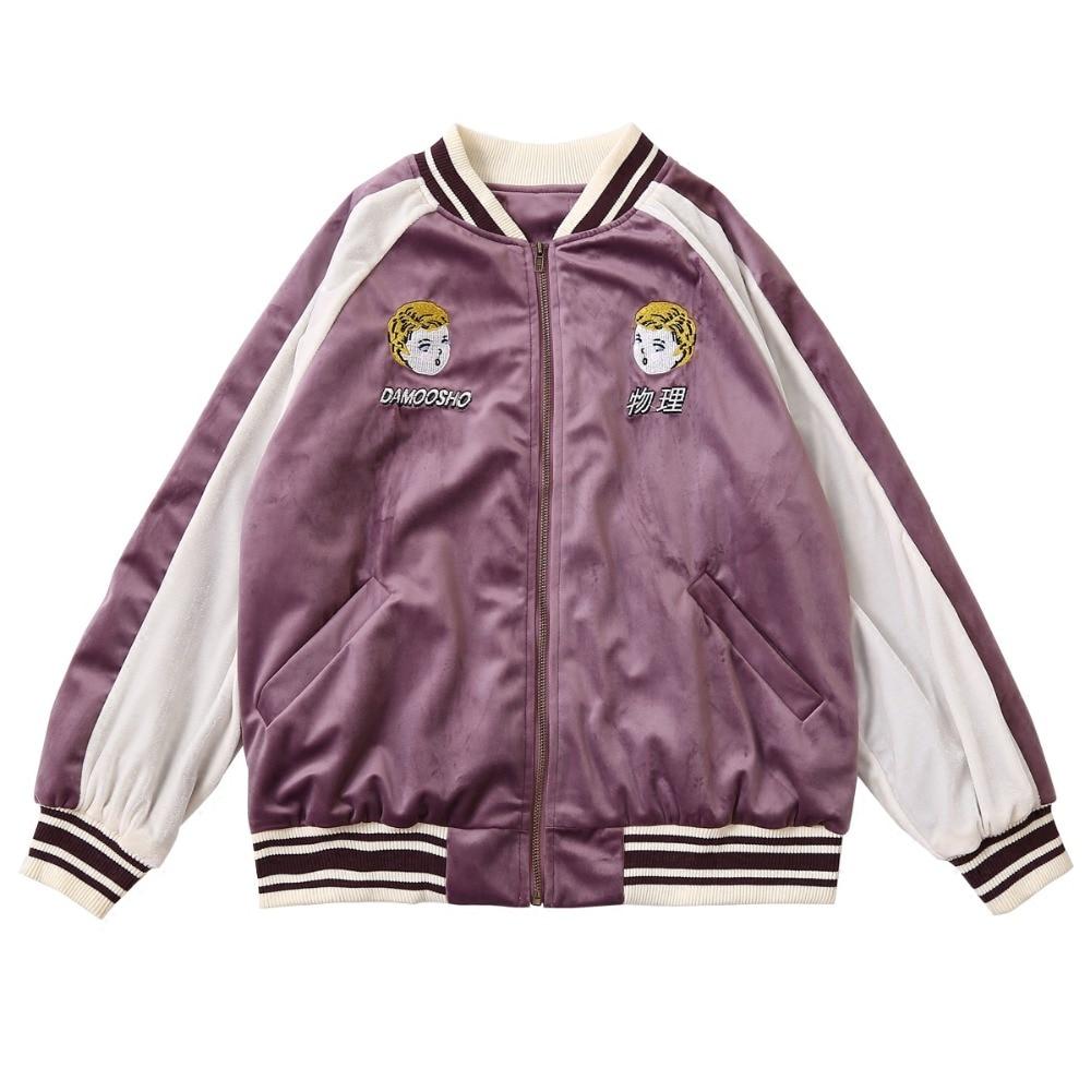 Autumn Winter Women Velvet Thick Coat Baseball Uniform Jackets Patchwork Color Cartoon Embroidery New Design Ladies