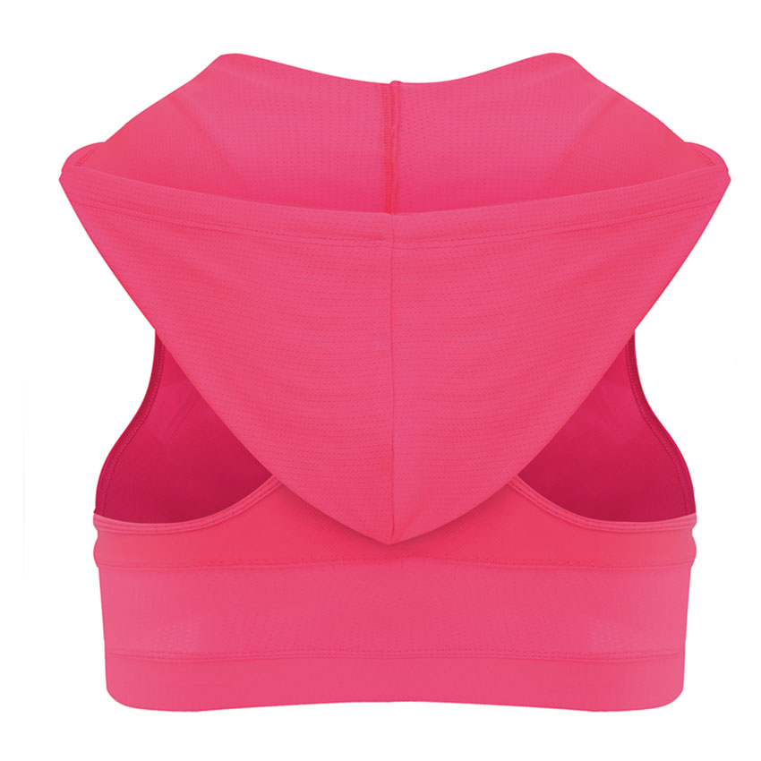 Foto from back Sport's Bra Top with Push Up for women. Women's Push up top for sport the pink color.