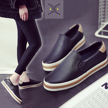 Free shipping 2017 spring new fashion women shoes  flatform loafers PU leather slip-on casual  women fashion Casual shoes