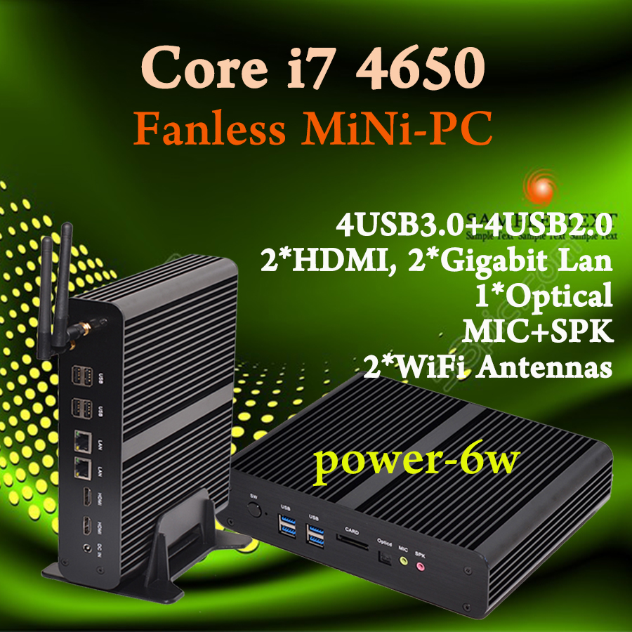 Mini pc Intel core i7 4650U Fanless Barebone HTPC Intel Nuc Sans Broadwell Graphique HD 5500 300M Wifi PC Office computer 4*USB nuc barebone fanless mini pc windows10 celeron n2840 2 16ghz 4g ram 256g ssd 4k htpc graphics hd 4200 300m wifi tv box vga hdmi