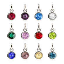 wholesale 12pcs Colorful Birthstone Crystal Birthstone Charms with open ring Jewelry Diy Accessories HC461(China)