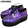A.O.D Big size 35~43 Four Seasons  Womens Punk Gothic Rock Double Platform Creepers Shoes Lace UP Purple laser hologram Shoe