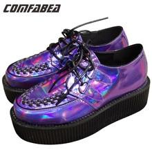 A.O.D Big size 35~43 Four Seasons  Womens Punk Gothic Rock Double Platform Creepers Shoes Lace UP Purple laser hologram Shoe