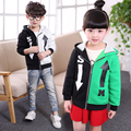 2016 New Autumn Brand  Winter Children Clothing Baby Girls Boys Clothes Letter Patchwork Hooded Sweatshirt KidsJacket Baby Coat