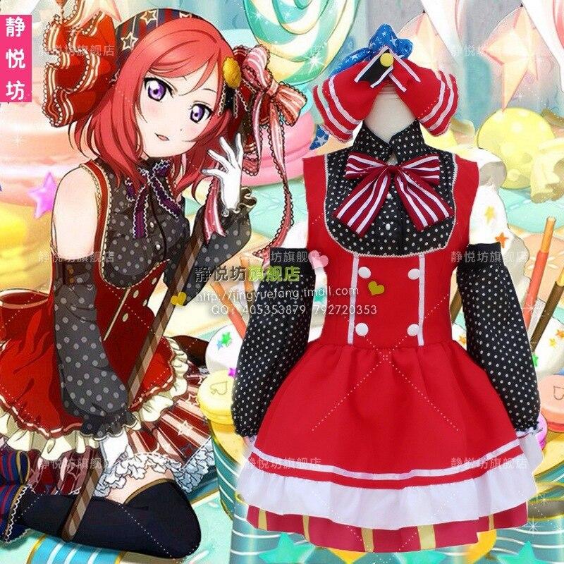 Free Shipping role-playing  Japanese Anime Love Live Candy Maid Cosplay Nishikino Maki party nightclub carnival Costume