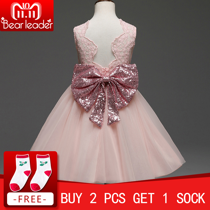 Bear Leader Girls Dresses 2018 New Brand Princess Girl Clothes Bowknot Sleeveless Party Dress Girls Clothes For 1-6 Years 2017 new sequins kids girls lace tulle bowknot tutu dress sleeveless princess girl party dresses children clothes 2 7 years