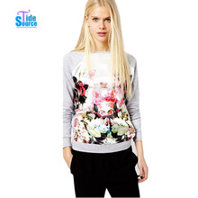 2017 New Fashion 3D Flower Printed Sweatshirt Full Sleeve Crew Neck Autumn Hoodies Women Casual Pullover