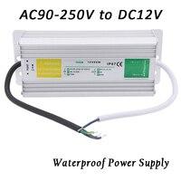 Boîtier métallique Étanche IP67 Transformateur Interrupteur D'alimentation AC 90-250 V à DC 12 V 60 W 80 W Adaptateur Pilote pour LED Bande Lampe de Jardin