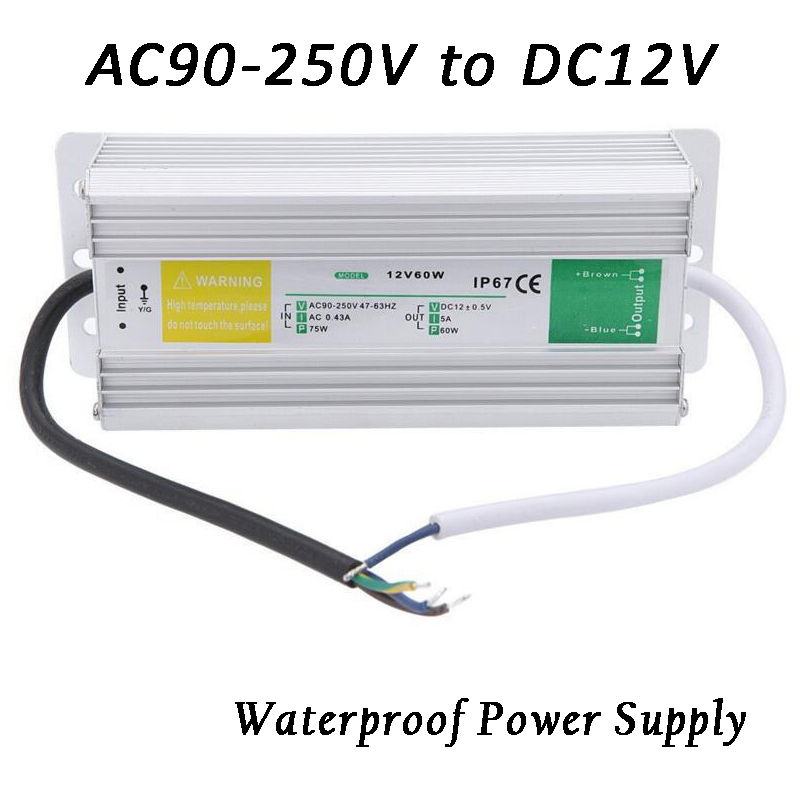 Metal Case Waterproof IP67 Transformer Switch Power Supply AC 90-250V to DC 12V 60W 80W Adapter Driver for LED Strip Garden Lamp 60w 80w constant voltage triac dimmable led driver waterproof transformer ac180 250v 90 130v to12 24v power supply for lighting