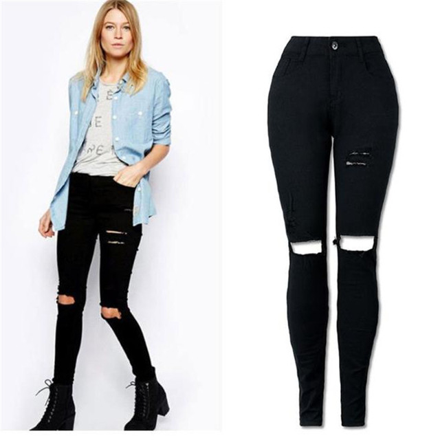 Jeans Skinny Mulheres Legal Joelho Rasgado Cortar Preto Longas Calças de Brim mulher Calças Slim Lápis Calças Para Senhoras Esfriar Streetwear Femem J16