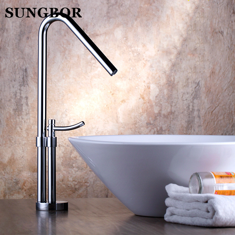 Tall Square Brass Chrome Bathroom Faucet Lavatory Sink Bar Basin ...