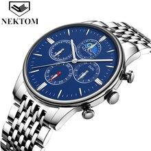 NEKTOM men Watches Top Brand Luxury White Gold Watch Fashion Quartz Watch Business Reloj Waterproof Wristwatch