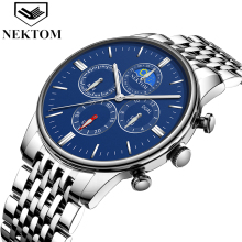 NEKTOM men Watches Top Brand Luxury White Gold Watch Fashion Quartz Watch Business Reloj Waterproof Wristwatch Relogio
