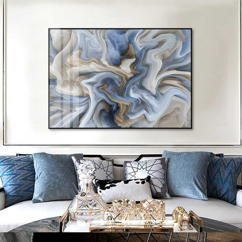 Modern Abstract Marble Textured Canvas Painting Unique Wall Art Pictures Poster and Prints  for Living Room Interior Home Decor