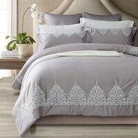 Blu Grigio Rosa lavato Ricamo in seta Bedding Set Regina King size Bed Copripiumino/Fit set lenzuolo Federa Morbida biancheria da letto
