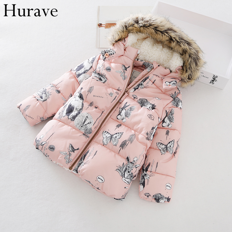 Hurave Fashion Kids Clothes 2017 Autumn And Winter New Animal Printing Girl Cotton Jacket Plus Cotton Jacket Children Clothes just star brand new design fashion embroidery bow pu women leather girls ladies handbag shoulder bag cross body flap bags