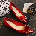 Pointed Toe Flats Woman Red Women Shoes Sanglaide Chaussure Femme Ete Plate Sapato Feminino Salto Baixo Ballerines Oxford Flat