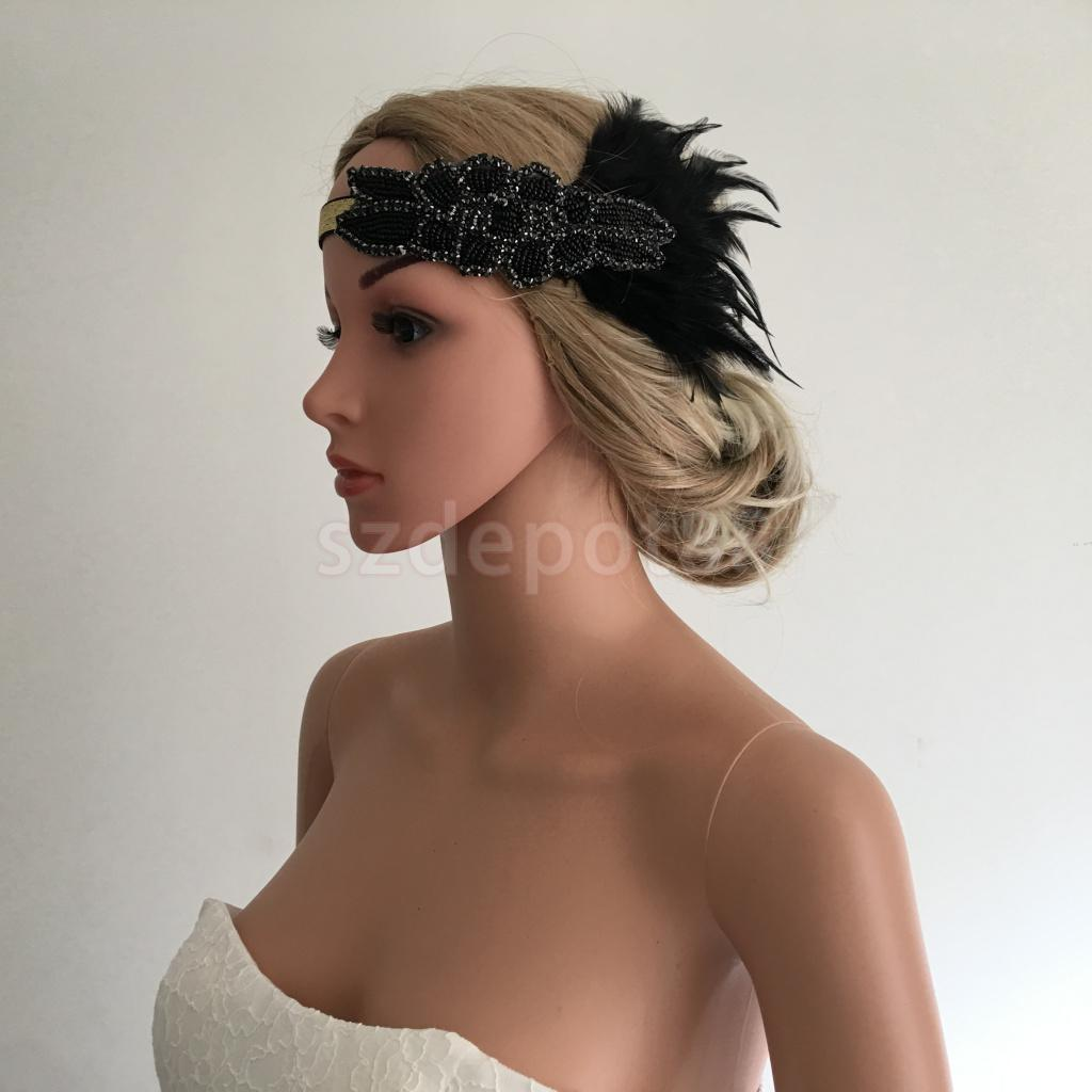 Woman Lady Flapper Feather Beads Headband 1920s Great Gatsby Fascinator  Headwear Charleston Party Wedding Headdress-in Women s Hair Accessories  from Apparel ... 71534e38998