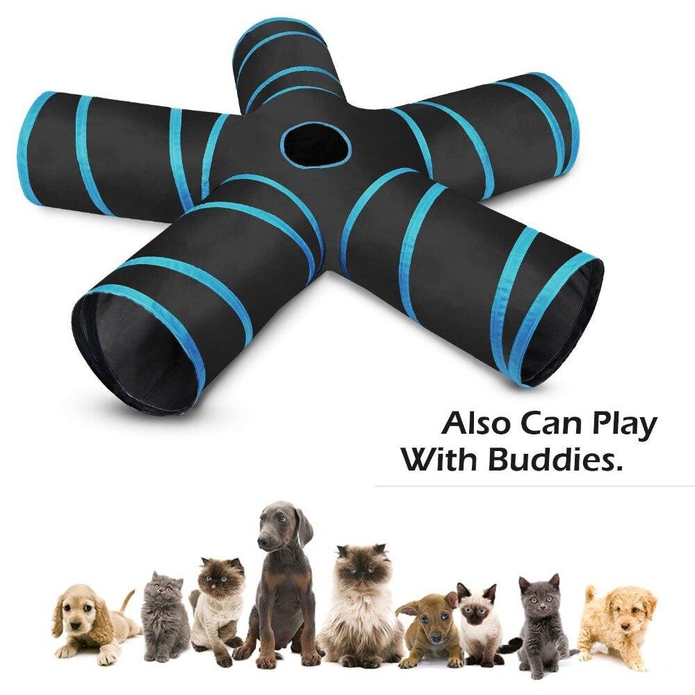 5 trous maison pliable Pet Tunnel chat jouer tente nid jouets chaton chat drôle jouet en vrac chat jouet lapin jouer Tunnel avec balle pour chat