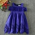 2017 Девушки летнее Платье девушки платье Принцессы менее плеча случайный стиль новая мода платье детская одежда
