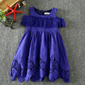 2017 Girls Dress summer girl's Princess dress less shoulder casual style new fashion dress kids clothes