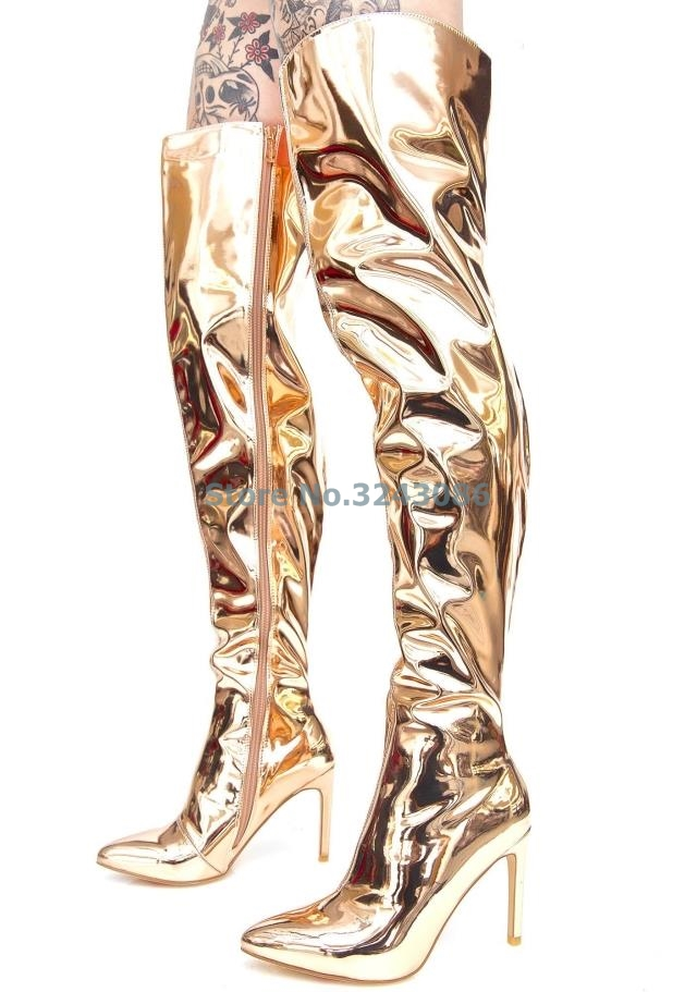 83c82f9f8901 Pointed Toe Metallic Over The Knee Boots Rose Gold Silver Patent Leather  Mirror Effect Stiletto Heel Long Boot Night Club Shoes - aliexpress.com -  imall.com
