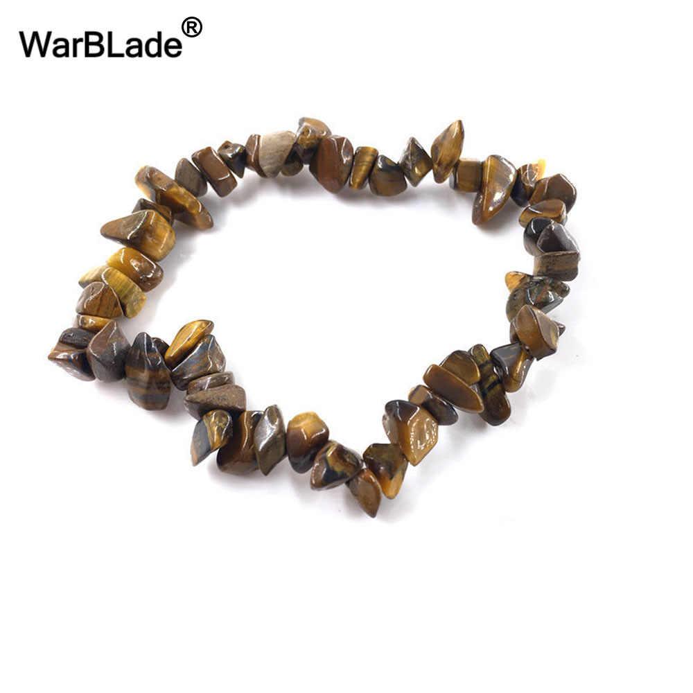 WarBLade 35 สีหินธรรมชาติสร้อยข้อมือ Tiger eye คริสตัลควอตซ์ยืดลูกปัดนักเก็ตกำไลข้อมือ