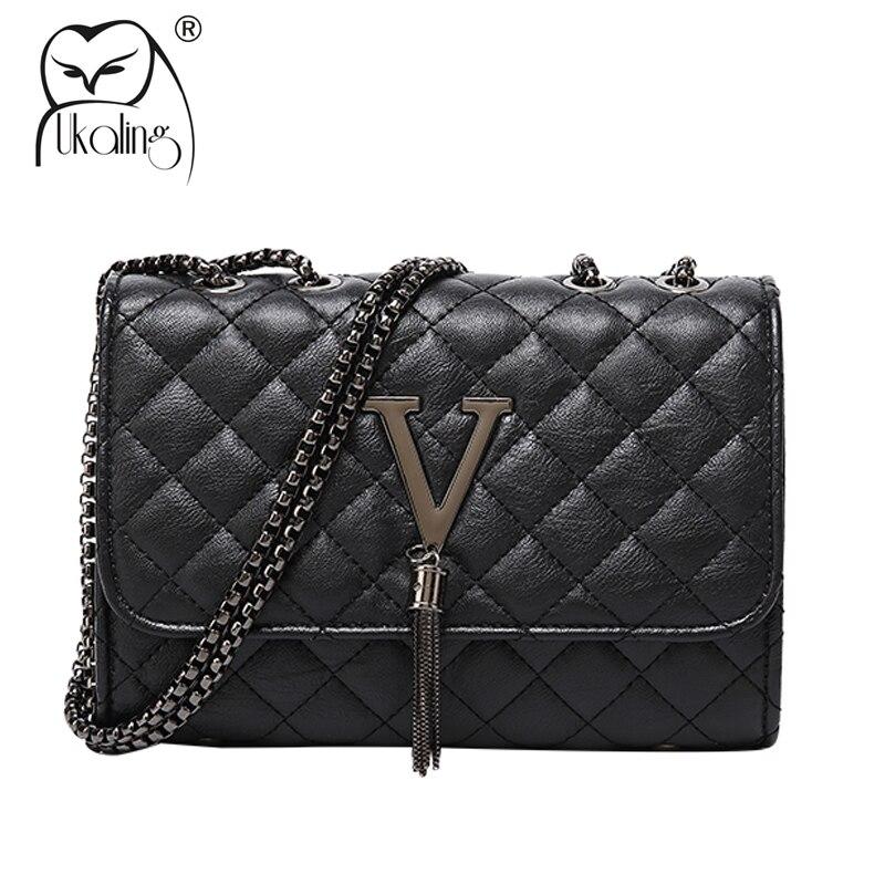 UKQLING Designer Handbag Women Bags Famous Brand Small Chain Shoulder Bag Ladies Messenger Bag With V Letter Sac Main Femme