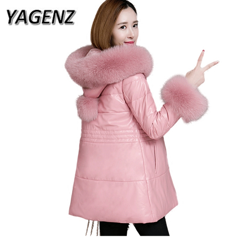 27ee4a88c2e Detail Feedback Questions about YAGENZ 2017 Women Real Sheepskin Hooded  Coats Female Fox Fur Collars Down Cotton Jackets High grade Warm Winter  Leather ...