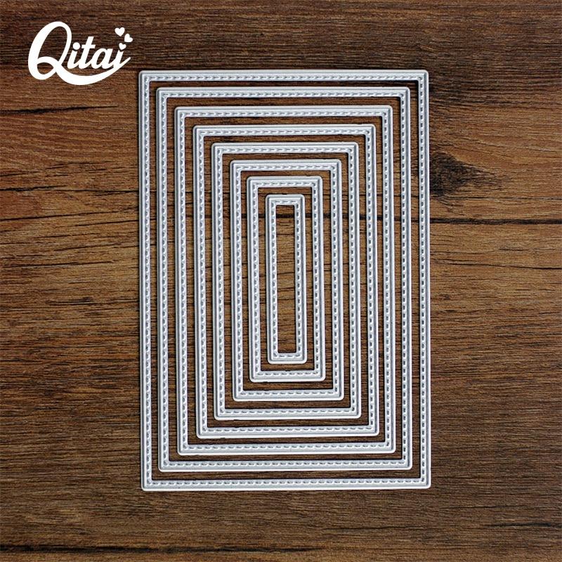 QITAI 8pcs / बहुत आयताकार आकृति DIY सजावट कागज काटने मर जाता है धातु सामग्री क्रिएटिव उपहार मरने के कटर घर स्क्रैपबुकिंग D53