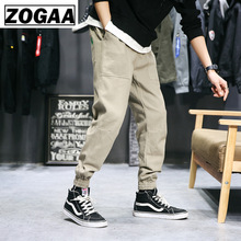 ZOGGA Spring Solid Safari Male Cargo Pants High-quality 100%cotton Mid-waist  Ankle-length Men Without Fade/shrink/pilling