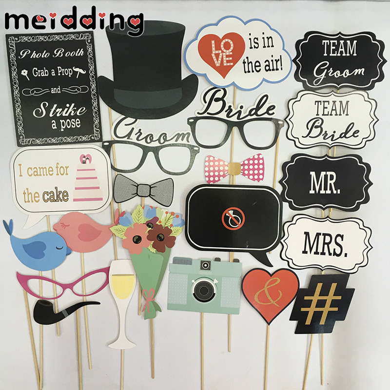 MEIDDING 22pcs Funny  Wedding Photo Booth Props Funny Bride Team Flower Camera Grasses Heart Wedding Decor Supplies Photo Booth
