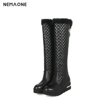 NemaoNe Winter Knee high snow Boots Women Fashion Slip-On med wedges heels shoes woman women boots big size 34-43