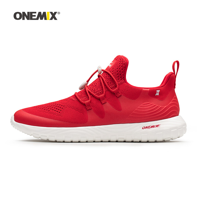 Onemix Man Running Shoes for Men Red Mesh Air Breathable Designer Trail Jogging Sneakers Outdoor Sport walking Tennis Trainers onemix woman running shoes for women white mesh air breathable designer jogging sneakers outdoor sport walking tennis trainers
