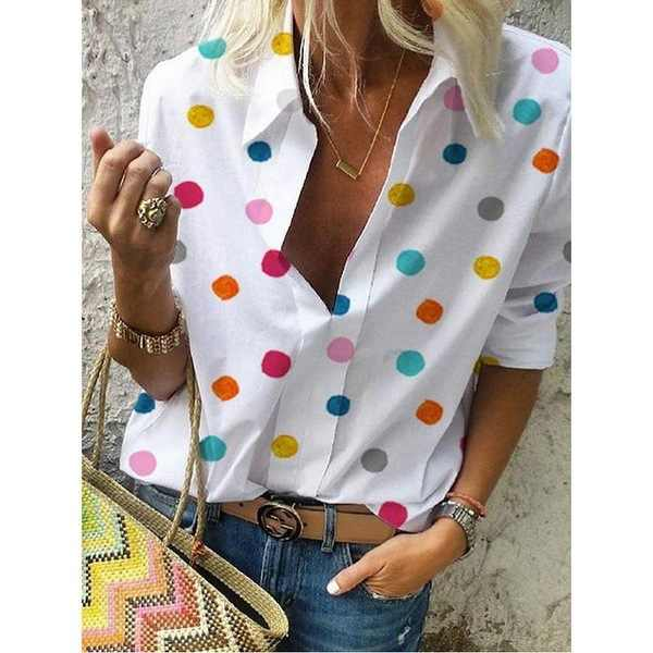 Streetwear Blouse Women Long Sleeve Shirt Top Femme Polka Dot Print Womens Tops And Blouses Plus Size V-neck Blusas Mujer 2019